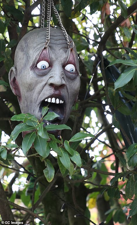 Horrific! No detail was spared when it came to decorations including a hanging ghoul mask which had its eyelids pulled up with chains