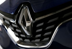 The logo of French car manufacturer Renault is seen at a dealership of the company in Bordeaux, France.