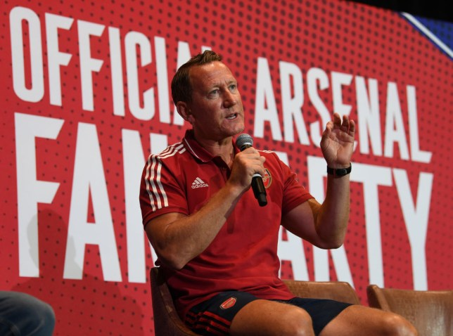 Ray Parlour speaks at an official Arsenal event