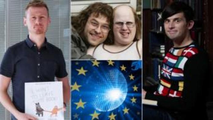 Clockwise from left: Richard David Lawman with I Want To Leave This Book, David Walliams and Matt Lucas as Little Britain's Lou and Andy, Kieran Hodgson and artwork for The Hustle