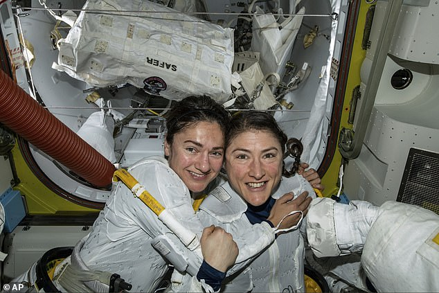 Meir and her colleague and friend made history two weeks ago after completing the first all-female spacewalk. Pictured is the pair inside of the craft after the six hour spacewalk