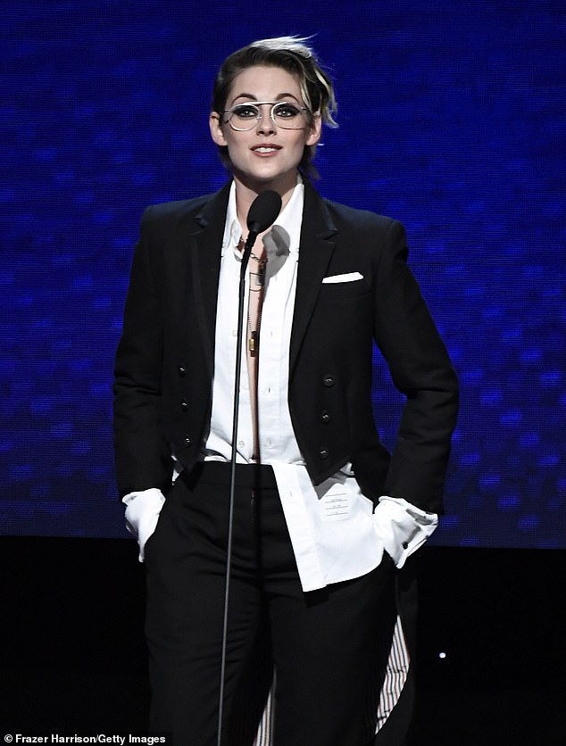 The 29-year-old César Award winner said onstage the Beverly Hilton Hotel: 'Allow me to fall at your feet. This person's ability and strength blows my f***ing hair back. She scares me when she wants to'