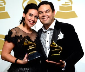 Songwriters Kristen Anderson-Lopez and Robert Lopez, winners of Best Song Written for Visual Media for Let It Go and Best Compilation Soundtrack for Visual Media for Frozen, at the Grammy Awards, February 8 2015, in Los Angeles, California.