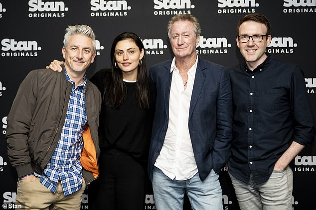 Winners! The six-part series recently received five AACTA award nominations, and won the 2019 Logie for Most Outstanding Miniseries. Pictured:Greg McLean, Phoebe Tonkin, Bryan Brown, Glen Dolman