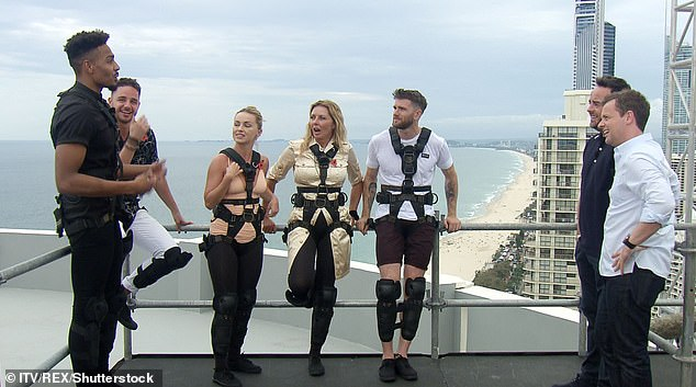 OMG:One stomach churning point of the walk will also see the stars having to stand on one foot to press a switch, 343 ft in the air