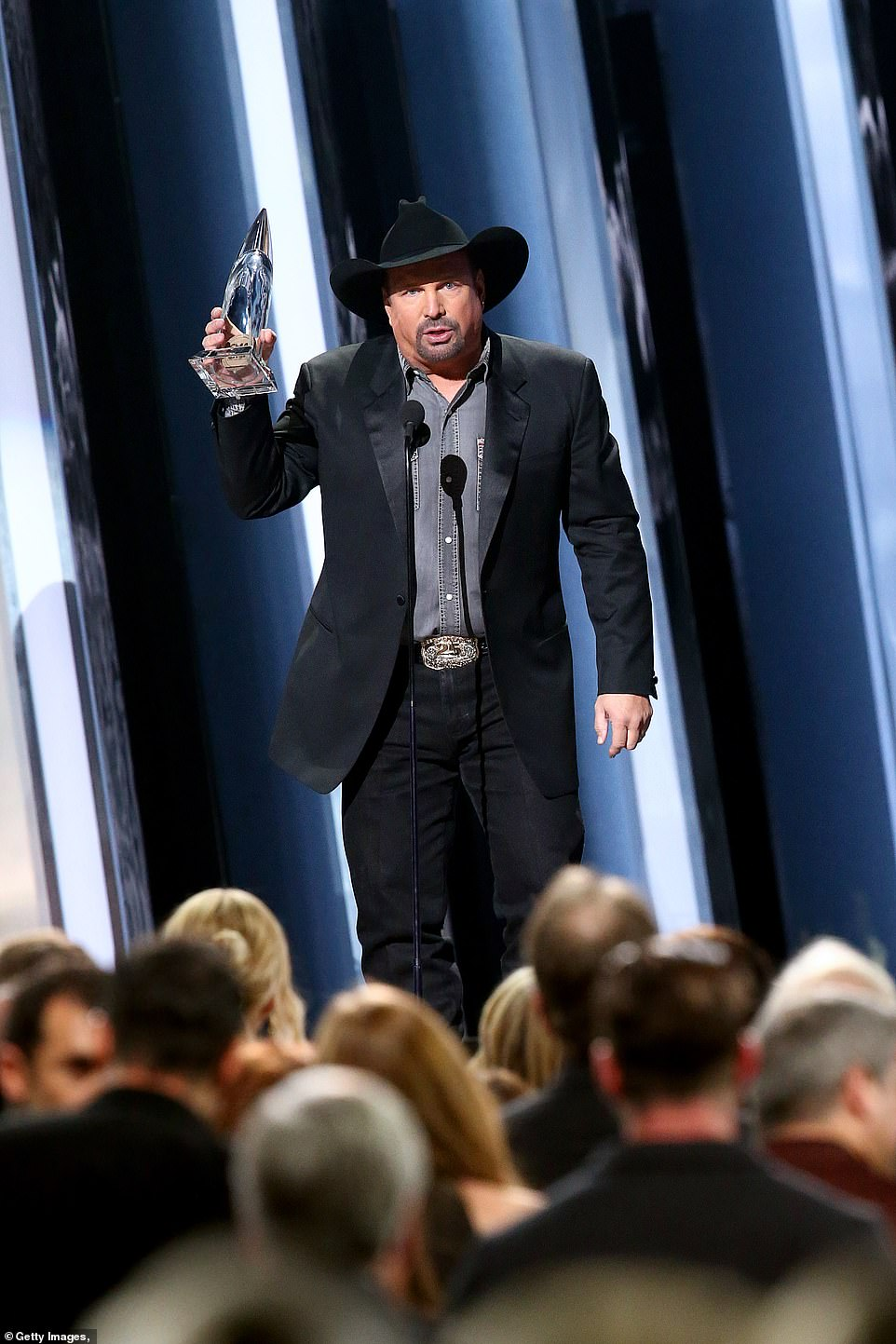 Entertainer:Despite the big wins by female artists throughout the night, it was country legend Garth Brooks who won the biggest award of the night, Entertainer Of the Year, despite having not released an album since 2016's Gunslinger
