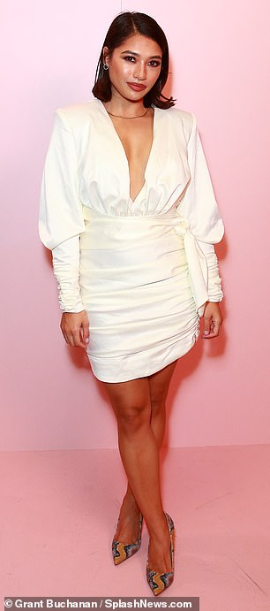 Fashion first: Former Saturdays star Vanessa White opted for a ruched cream dress...