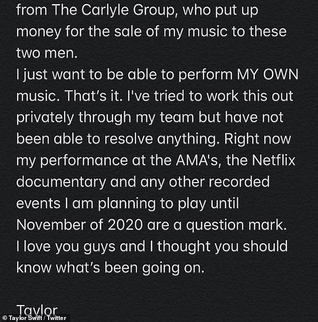 Swift added: 'Right now my performance at the AMA's, the Netflix documentary and any other recorded events I am planning to play until November of 2020 are a question mark'