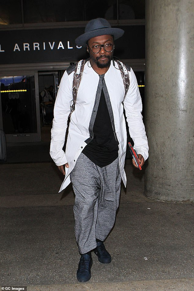 A rough landing: will.i.am (pictured) was travelling from Brisbane ahead of a Black Eyed Peas concert in Sydney on Saturday night
