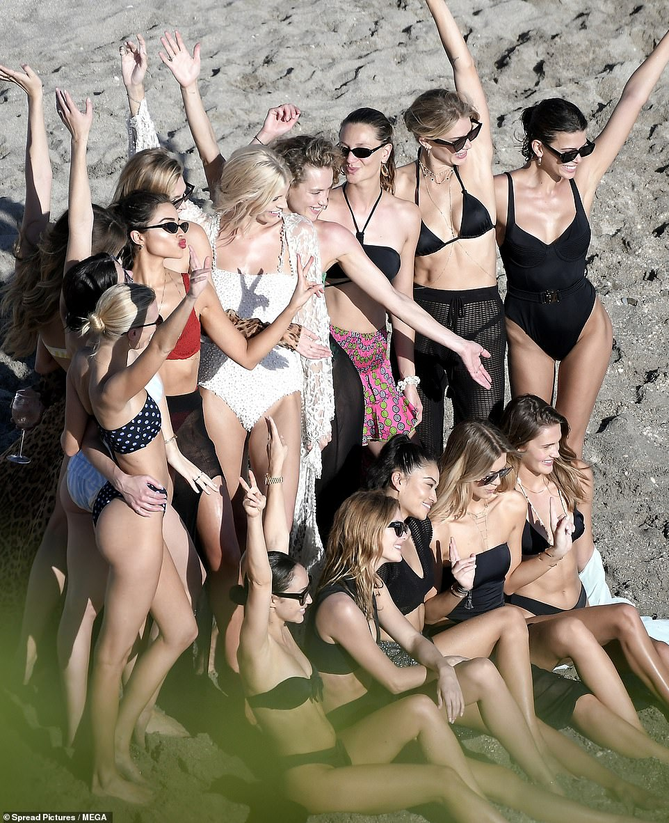 Popular: Devon was joined by a slew of her other glamorous runway pals for the beach festivities