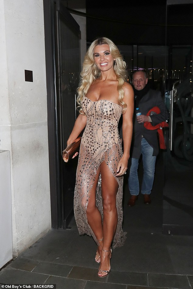 Stunning: The Real Housewives of Cheshire star, 31, pulled out all the stops in a semi-sheer metallic gown as she joined the likes of Amy Childs at the glittering event