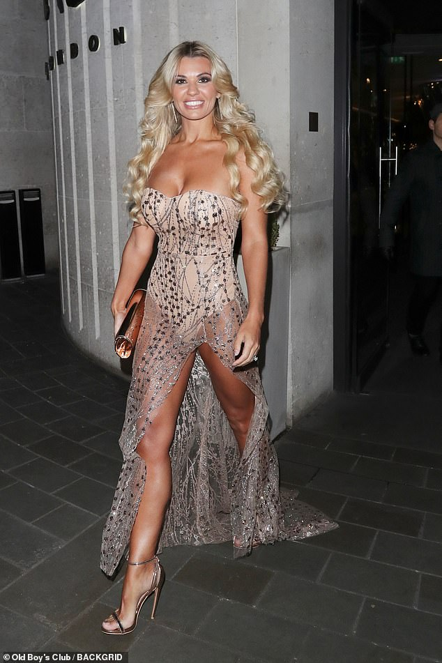 Glam: Ensuring her enviable figure was as visible as possible, Christine rocked a daring number which featured a nude body suit overlaid with a shimmering silver mesh material
