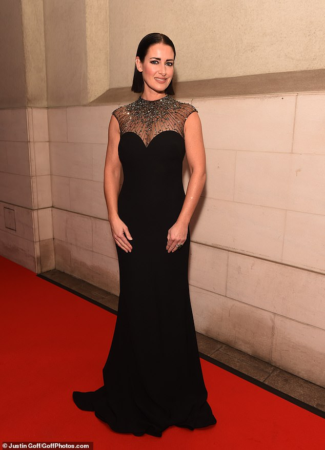 Leading lady: Host Kirsty Gallacher was on fine form in a stunning black gown with an embellished neckline
