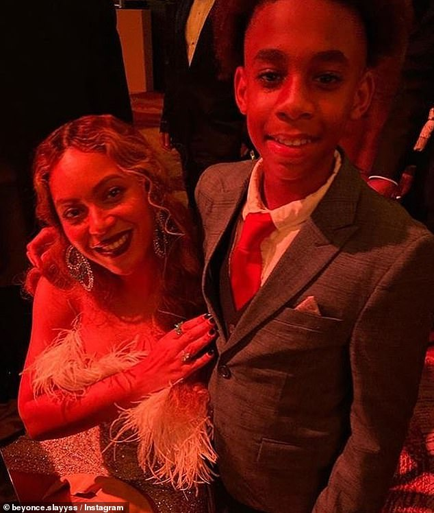 Hobnobbing: Child entertainer Dawan 'Wanny Boy' Brown, 13, posted an Instagram snap from the event of himself with none other than Beyoncé herself