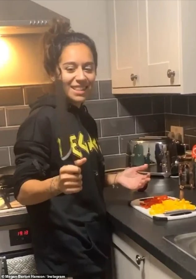 Sunday night special: Megan shared clips of Chelcee cooking up fajitas in the kitchen, pretending to present a cooking show