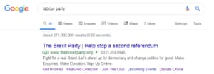Brexit party Google ad