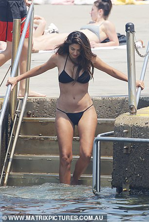 Summer stunner: Pia showed off her trim and toned physique in a black bikini