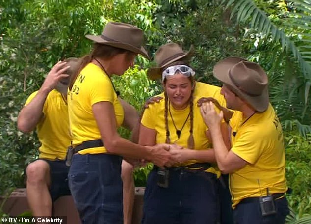 Distraught: Jacqueline was left in hysterical tears during Tuesday's show, as she struggled to face her fears during a Bushtucker Trial