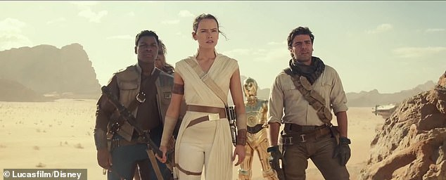 Time to fight? From left are Finn, Rey, C-3PO and Poe