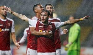 Braga's Andre Horta celebrates scoring their first goal with teammates.