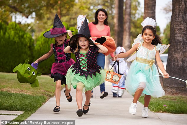 A new study from Autoinsurance.org has found that when Halloween is on a weeknight, fatalities from children being hit by cars are 83% compared to a weekend (file image)