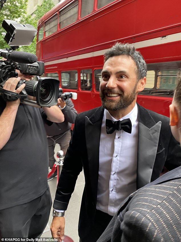 Wedding of the year! MAFS star Cameron Merchant (pictured) led the celebrity arrivals at his star-studded wedding day with Jules Robinson in Sydney on Sunday