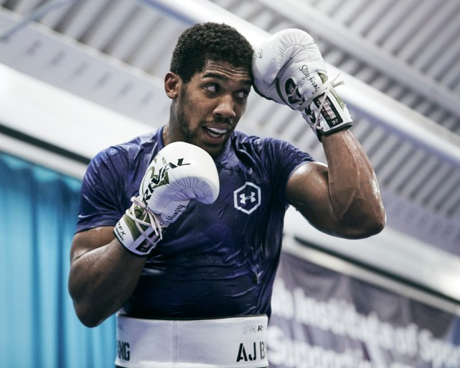 Heavyweight boxer Anthony Joshua defends himself during sparring