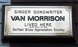 Van Morrison plaque on his childhood home in Hyndford Street, Belfast