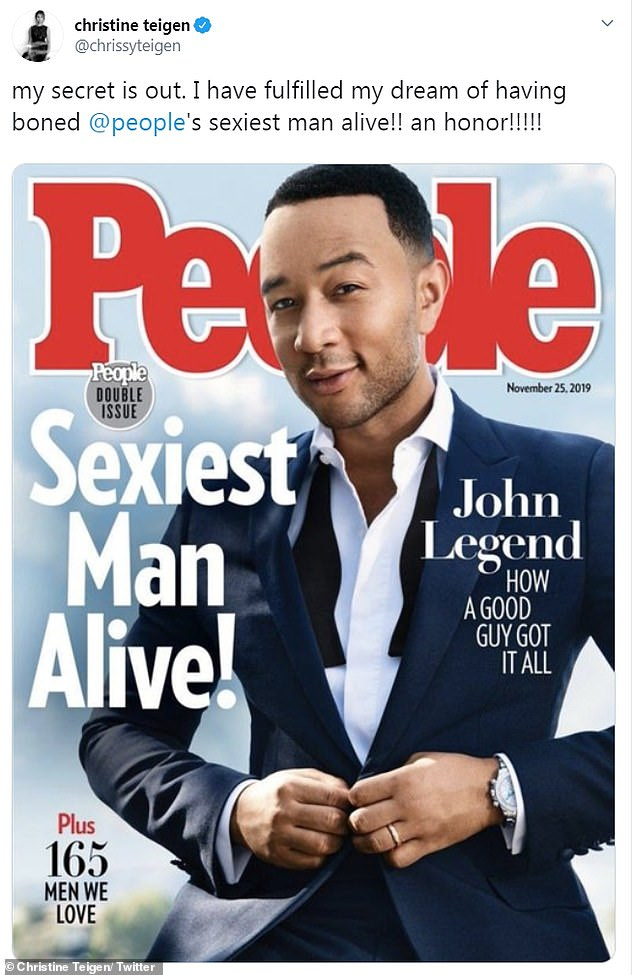 Sexiest alive: John Legend was revealed Tuesday as the 2019 People magazine Sexiest Man Alive on The Voice and in a tweet by his wife Chrissy Teigen