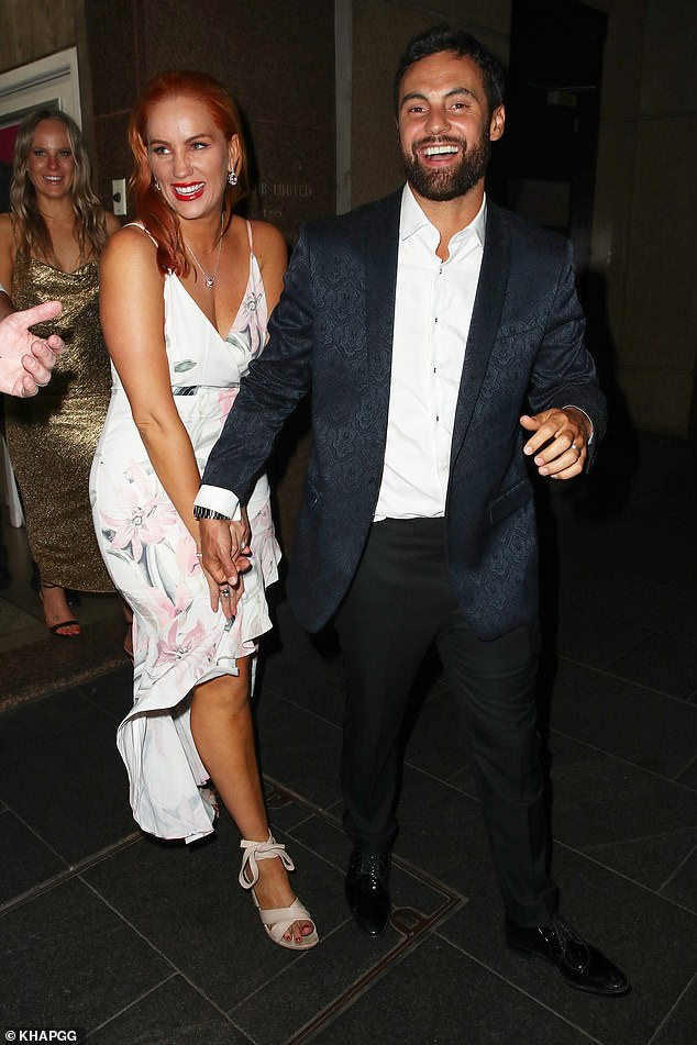 Mr and Mrs! Newlywed MAFS stars Cameron Merchant and Jules Robinson (pictured) appeared overjoyed as they left their star-studded wedding in Sydney on Sunday night