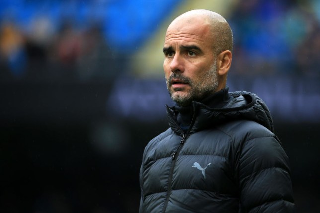 Pep Guardiola looks concerned during Manchester City's win against Southampton