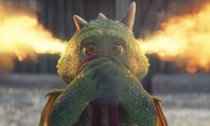 Excitable Edgar, the dragon hero of the 2019 John Lewis Christmas advert, with fire coming out of his ears.