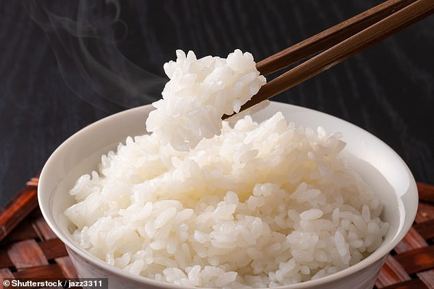 Arsenic is a toxic chemical which, in high enough doses, can cause serious health issues. It is found naturally in rice (pictured) and research has now proved that rising temperatures increase its presence in the grain