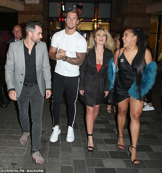 Fury: Dan Osborne has hit back at claims he had a threesome with CBB co-stars Chloe Ayling and Natalie Nunn behind his wife Jacqueline Jossa's back in 2018 (pictured 2018 with Ben Jardine)