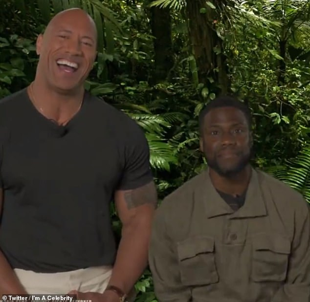 Funny: Dwayne 'The Rock' Johnson and Kevin Hart have given fans a tease of their appearance on Thursday's I'm A Celebrity with a hilarious clip