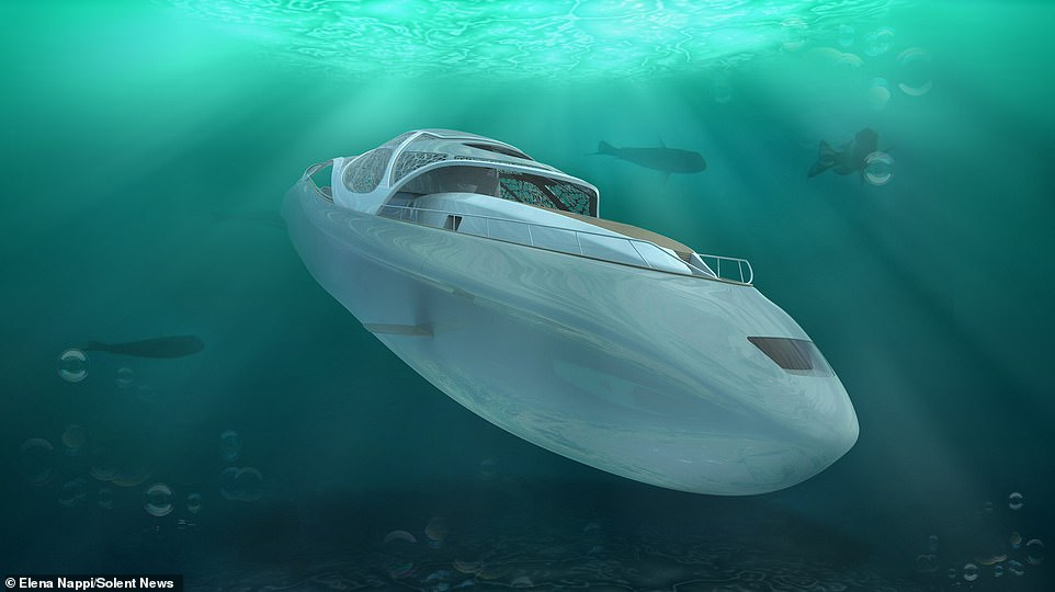 A new luxury super yacht being developed in Italy can double as a submarine — assuring complete privacy for the rich and famous as it descends discretely beneath the waves. Pictured, the Carapace can dive to a maximum depth of 985 feet