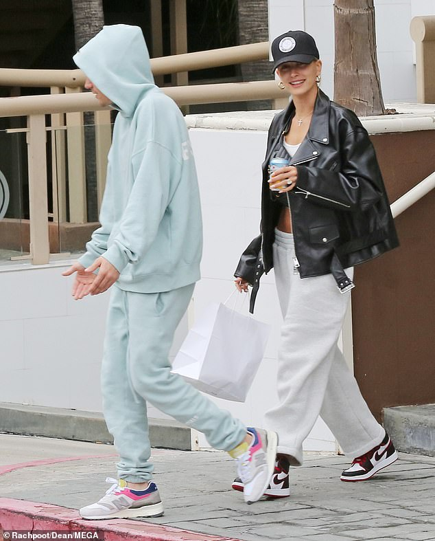 Stylish display: Hailey Bieber was sure to illustrate there is little to speculate as she stepped out in LA with her husband Justin Bieber on Saturday