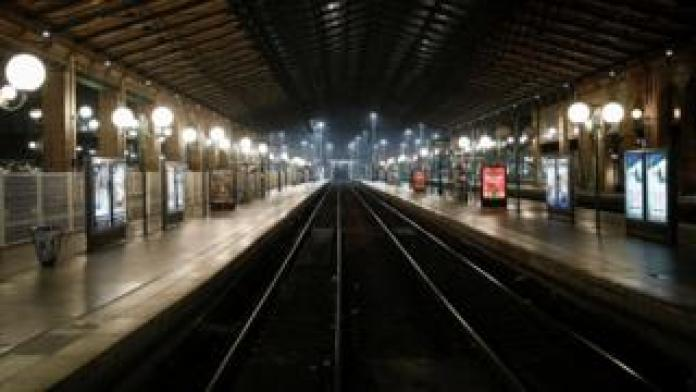 Empty tracks are seen on the departure train platform Gare du Nord railway station