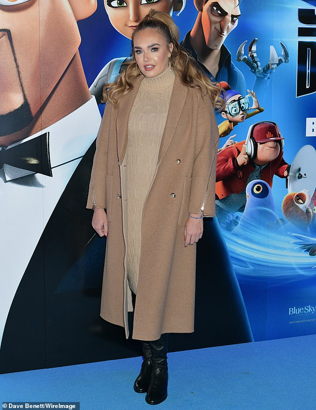 Loving:Tamara Ecclestone was ever the doting mother to little Sophia, five, as she taught her daughter how to pose for the cameras at the gala screening of Spies in Disguise at BFI Southbank on Saturday morning