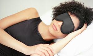 Woman sleeping with eye mask