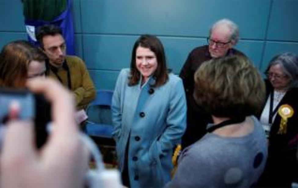 Jo Swinson arrives at the counting centre