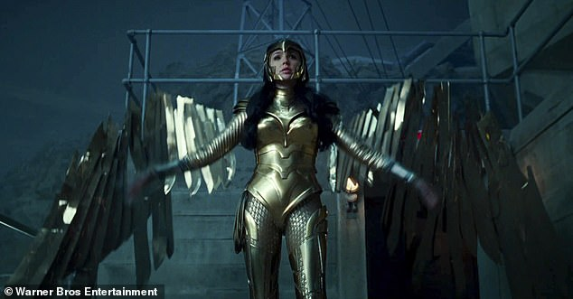 Change up: Towards the end of the trailer, Diana can be seen dressed in a head-to-toe gold pant suit, which is in sharp contrast to her original tube top and mini skirt outfit
