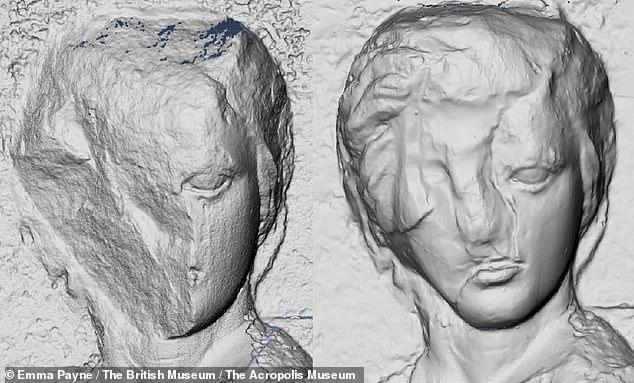'Archaeologists have also known for some time that the people making the casts would sometimes reconstruct damaged areas and I found more evidence of this practice than anticipated,' Dr Payne noted. Pictured, left, a 3D model of a figure from the marbles' North Frieze and, right, the same in the Elgin marbles, where the face appears crudely reconstructed