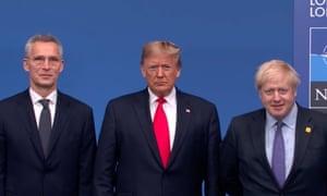 Left to right: Jens Stoltenberg, Donald Trump and Boris Johnson.