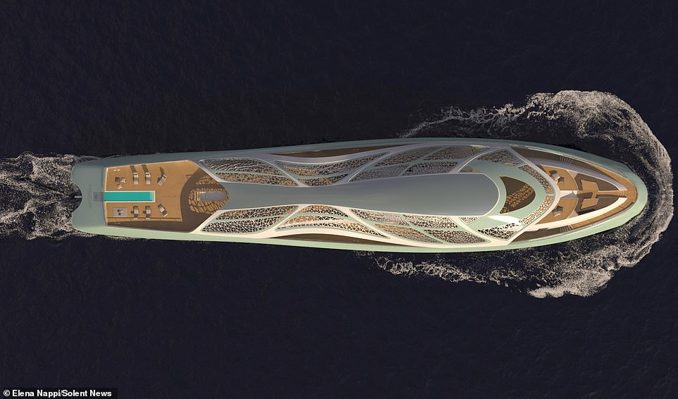 The hybrid super yacht — which is expected to have a price tag somewhere in the hundreds of millions of pounds when built — is the brain-child of Trieste-based designer Elena Nappi, 34, of the Italian ship building company Fincantieri