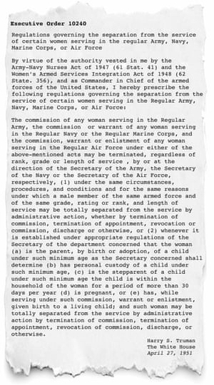Harry Truman's executive order outlining conditions in which women may be terminated from military service. Dated April 27, 1951