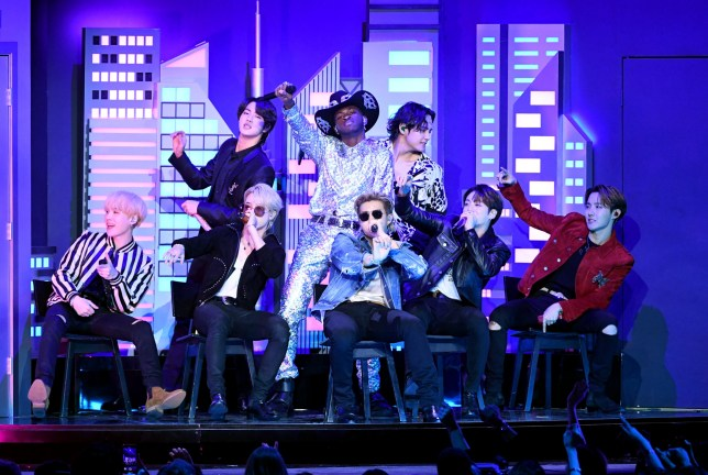 LOS ANGELES, CALIFORNIA - JANUARY 26: Lil Nas X and BTS perform onstage during the 62nd Annual GRAMMY Awards at STAPLES Center on January 26, 2020 in Los Angeles, California. (Photo by Kevin Winter/Getty Images for The Recording Academy )