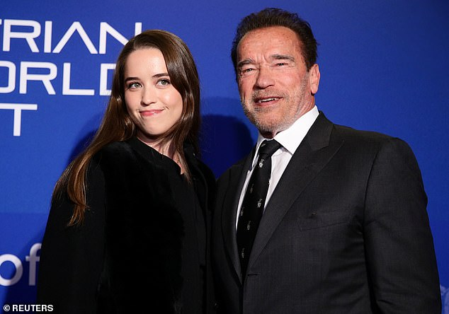 Worthwhile cause:Arnold Schwarzenegger, 72, and his daughter Christina, 28, led the stars at a charity dinner and climate auction held by Austrian World Summit in Reith bei Kitzbühel, Austria, on Thursday night