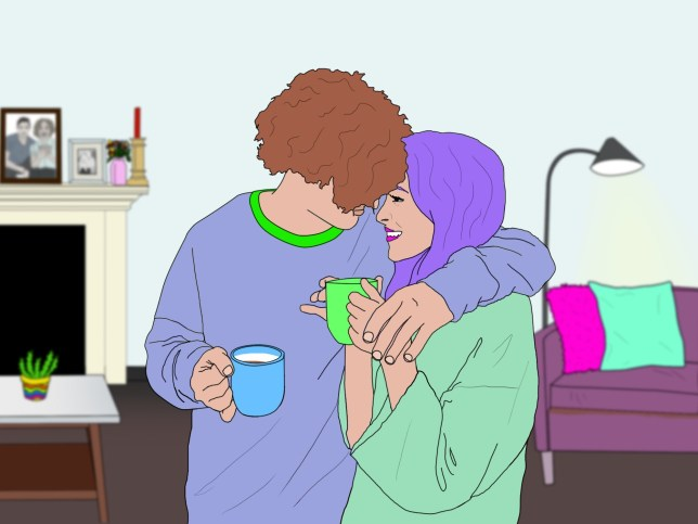 Illustration of woman and man sharing a cuppa and a hug