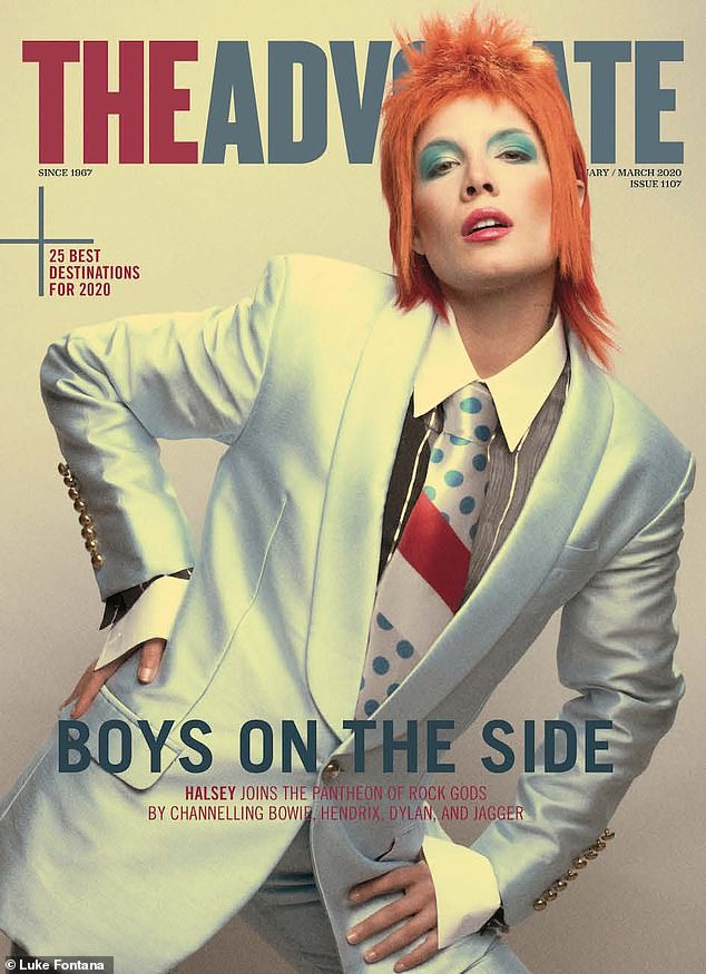 Let's dance! Grammy-nominated songstress Halsey tapped into her inner drag king to transform into her favorite retro rock gods for the February/March edition of The Advocate